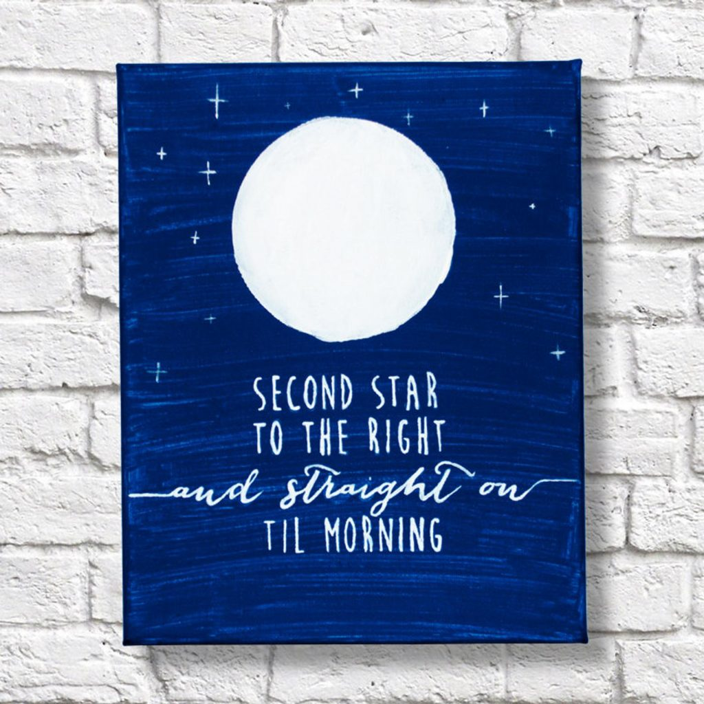 Second Star to the Right and Straight on Til Morning Quote Canvas